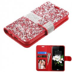 LG K7 Red Mini Crystals with Silver Belt Wallet