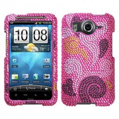 HTC Inspire 4G Spiral Hearts Diamante Case