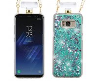 Samsung Galaxy S8 Hearts & Green Quicksand Glitter Diamante Perfume Bottle Protector Cover(with Chain)