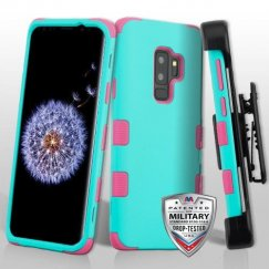 Samsung Galaxy S9 Plus Rubberized Teal Green/Electric Pink Hybrid Phone Case Military Grade with Black Horizontal Holster