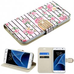Samsung Galaxy S7 Pink Fresh Roses Diamante Wallet with Diamante Belt