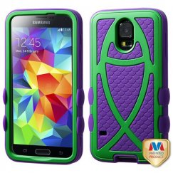 Samsung Galaxy S5 Rubberized Green/Dark Purple Fish Hybrid Case