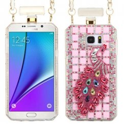 Samsung Galaxy Note 5 Peacock/Pink Crystals Diamante Perfume Bottle Candy Skin Cover with Chain