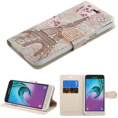 Samsung Galaxy J3 Eiffel Tower Diamante Wallet with Diamante Belt
