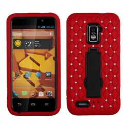 ZTE Warp 4G Black/Red Symbiosis Stand Case with Diamonds