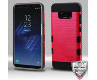 Samsung Galaxy S8 Plus Red/Black Brushed Hybrid Protector Cover [Military-Grade Certified]