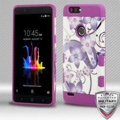 ZTE Blade Z Max / Sequoia Z982 Purple Hibiscus Flower Romance/Electric Purple Hybrid Case Military Grade