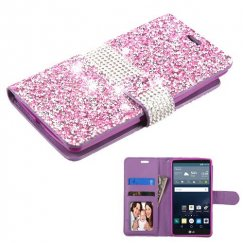 LG G Stylo Purple Mini Crystals with Silver Belt Wallet