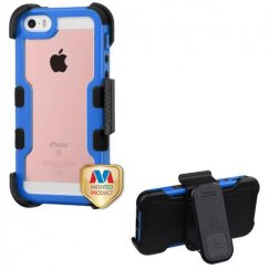 Apple iPhone 5s Natural Dark Blue Frame PC Back/Black Vivid Hybrid Case with Black Horizontal Holster