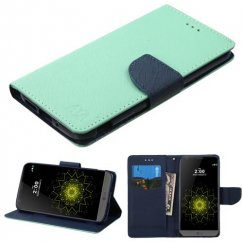 LG G5 Teal Green Pattern/Dark Blue Liner wallet with Card Slot