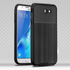Samsung Galaxy J7 Black Woven & Brushed/Black Hybrid Protector Cover