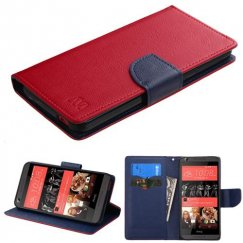 HTC Desire 626 Red Pattern/Dark Blue Liner wallet with Card Slot