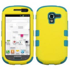 Samsung Galaxy Exhibit Rubberized Yellow/Tropical Teal Hybrid Case