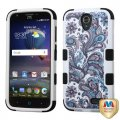 ZTE Grand X 3 / Warp 7 Purple European Flowers/Black Hybrid Case