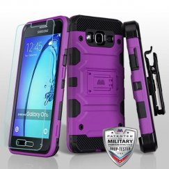 Samsung Galaxy On5 Purple/Black 3-in-1 Storm Tank Hybrid Case Combo with Black Holster and Tempered Glass Screen Protector - Military Grade