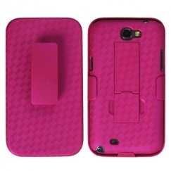 Samsung Galaxy Note 2 Rubberized Hot Pink Hybrid Holster with Stand