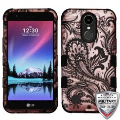 LG K10 Phoenix Flower (2D Rose Gold)/Black Hybrid Case Military Grade