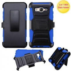 Samsung Galaxy On5 Black/ Blue Advanced Armor Stand Case with Black Holster