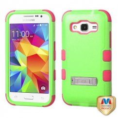 Samsung Galaxy Core Prime Natural Pearl Green/Electric Pink Hybrid Case with Stand