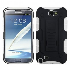 Samsung Galaxy Note 2 Black/White Car Armor Stand Case - Rubberized