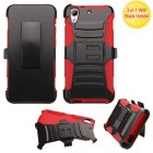 HTC Desire 626 Black/Red Advanced Armor Stand Case with Black Holster