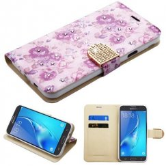Samsung Galaxy J7 Fresh Purple Flowers Diamante Wallet with Diamante Belt
