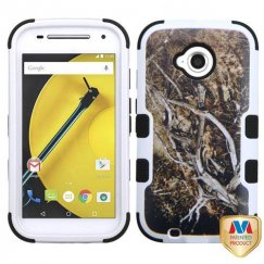 Motorola Moto E 2nd Gen Yellow/Black Vine/Black Hybrid Case