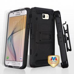 Samsung Galaxy J5 Prime Black/Black 3-in-1 Kinetic Hybrid Case Combo with Black Holster and Twin Screen Protectors