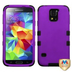 Samsung Galaxy S5 Rubberized Grape/Black Hybrid Case