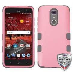 ZTE Grand X 4 Rubberized Pearl Pink/Iron Gray Hybrid Phone Case - Military Grade