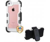 Apple iPhone 5/5s Natural Ivory White Frame PC Back/Iron Gray Vivid Hybrid Case with Black Horizontal Holster