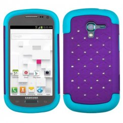 Samsung Galaxy Exhibit Purple/Tropical Teal Luxurious Lattice Dazzling TotalDefense Case