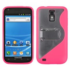 Samsung Galaxy S2 Transparent Clear/Solid Hot Pink (S Shape With Stand) Gummy Cover
