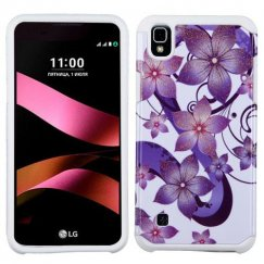 LG X Style / Tribute HD Purple Hibiscus Flower Romance /White Advanced Armor Case