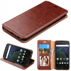 Motorola Moto G5 Plus Brown Wallet with Tray