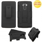 LG G Stylo Black/Black Advanced Armor Stand Protector Cover (With Black Holster)