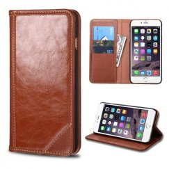 Apple iPhone 6 Plus Brown Genuine Leather Wallet
