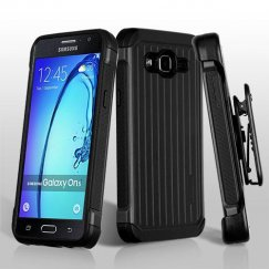 Samsung Galaxy On5 Black/Black Suitcase Hybrid Case with Black Horizontal Holster