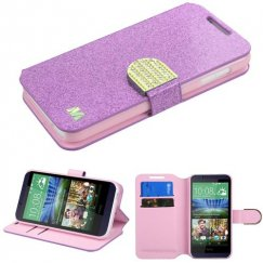HTC Desire 510 Purple Glittering Wallet with Diamante Belt