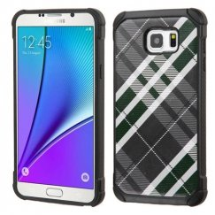 Samsung Galaxy Note 5 Forest Green/Gray Diagonal Plaid/Black Astronoot Case