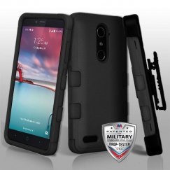 ZTE Grand X Max 2 Natural Black/Black Hybrid Phone Case Military Grade with Black Horizontal Holster