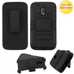 Motorola Moto G4 Play Black/Black Advanced Armor Stand Case with Black Holster