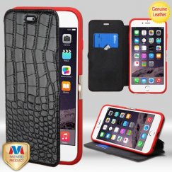 Apple iPhone 6 Plus Black Crocodile-Embossed Genuine Leather Wallet with Natural Black/Red Tray