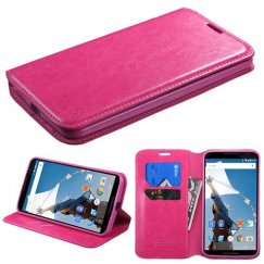 Motorola Nexus 6 Hot Pink Wallet with Tray