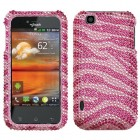 LG myTouch Zebra Skin (Pink/Hot Pink) Diamante Protector Cover