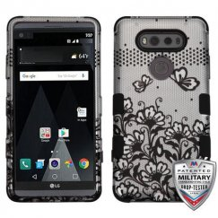 LG V20 Black Lace Flowers 2D Silver/Black Hybrid Case