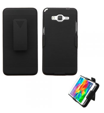 Samsung Galaxy Grand Prime Rubberized Black Hybrid Holster