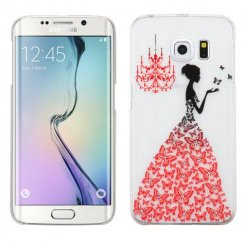 Samsung Galaxy S6 Edge Red Butterfly Gown Embossed Painting Back Case with Diamonds