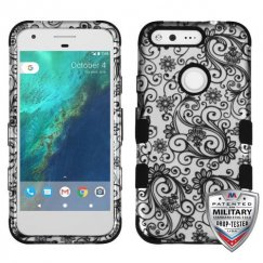 Google Pixel Black Four-Leaf Clover (2D Silver)/Black Hybrid Case - Military Grade