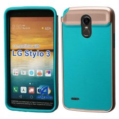 LG G Stylo 3 Rose Gold Frame/Tropical Teal Astronoot Case